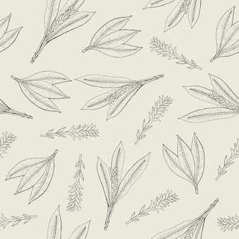 Patrón sin costuras botánico con hojas de cúrcuma e inflorescencias.