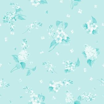 Patrón sin costuras botánico. lila flor floreciente.