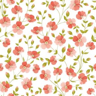 Patrón sin costuras botánico. lino de flores florecientes.