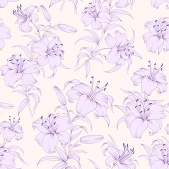 Patrón sin costuras botánico. lirios de flores florecientes.