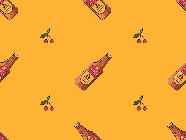 Patrón sin costuras con botellas de cerveza de cereza