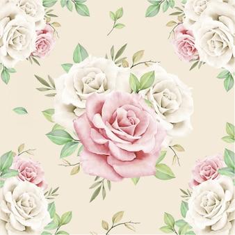 Patrón sin costuras bouquet floral