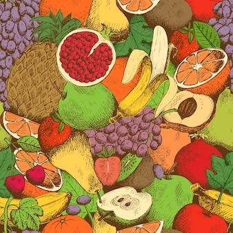 Patrón sin costuras brillantes jugosas frutas frescas