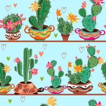 Patrón sin costuras cactus de dibujos animados en macetas están en los estantes.