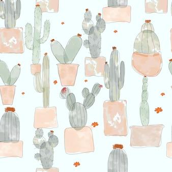 Patrón sin costuras de cactus