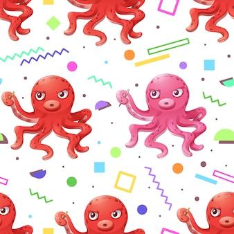 Patrón sin costuras de calamar y memphis