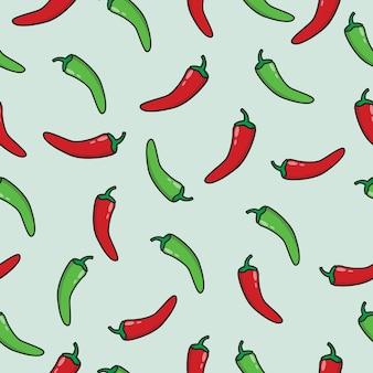 Patrón sin costuras de chile rojo y verde