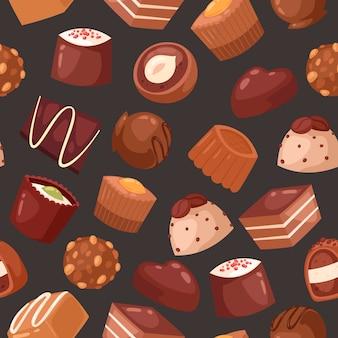 Patrón sin costuras de chocolate dulce