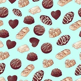 Patrón sin costuras de chocolate