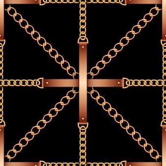 Patrón sin costuras con cinturones, cadenas y cuerda.
