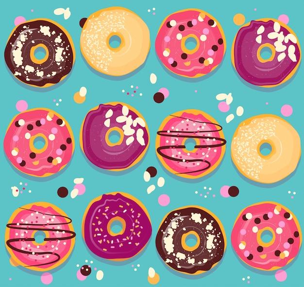 Patrón sin costuras colección de donuts