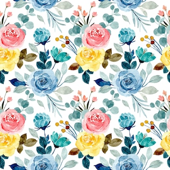 Patrón sin costuras colorida flor acuarela