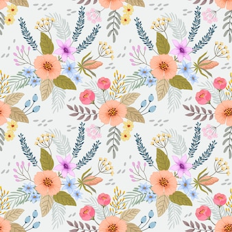 Patrón sin costuras coloridas flores