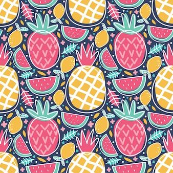 Patrón sin costuras coloridas frutas tropicales piña sandía limón doodle