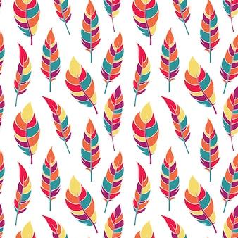 Patrón sin costuras coloridas plumas planas