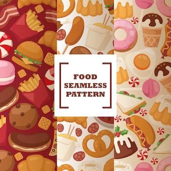 Patrón sin costuras de comida chatarra dulces y bocadillos callejeros poco saludables