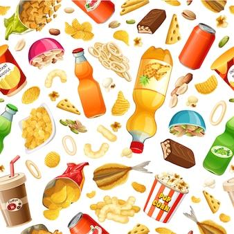 Patrón sin costuras de comida chatarra