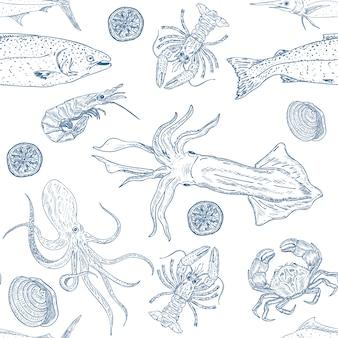 Patrón sin costuras de comida de mar