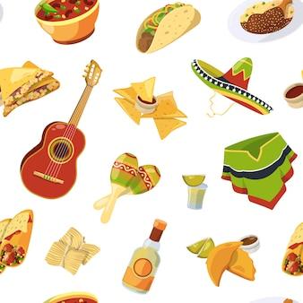 Patrón sin costuras de comida mexicana de dibujos animados