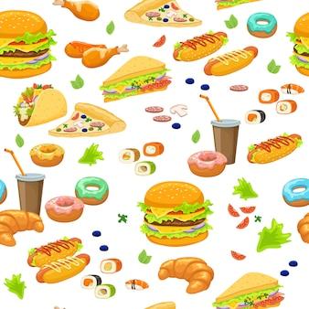 Patrón sin costuras de comida rápida