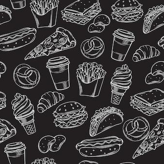 Patrón sin costuras de comida rápida con