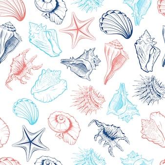 Patrón sin costuras de conchas marinas
