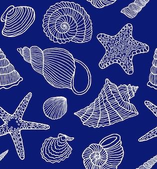 Patrón sin costuras con conchas marinas
