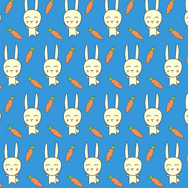 Patrón sin costuras de conejo zanahoria en azul