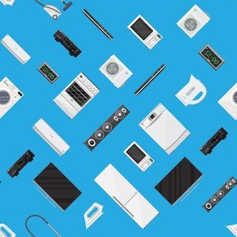 Patrón sin costuras. conjunto de dispositivos electrónicos de electrodomésticos. freezer congelador relojes ventilador estufa de vacío lavadora microondas frigorífico hervidor de hierro tv altavoz aire acondicionado. estilo plano de ilustración vectorial