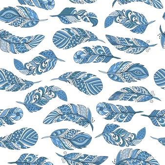 Patrón sin costuras, conjunto de vectores de hermosas plumas azules abstractas en estilo étnico