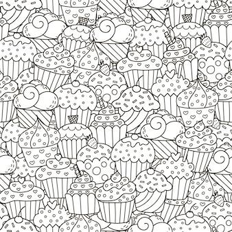 Patrón sin costuras cupcakes blanco y negro
