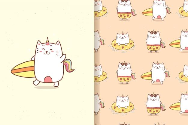 Patrón sin costuras cute cat unicornio personaje de dibujos animados en la playa en verano.