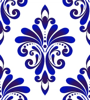 Patrón sin costuras damasco azul y blanco