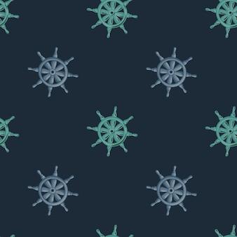 Patrón sin costuras decorativo con estampado de timón de barco lila y azul. fondo oscuro. siluetas antiguas.