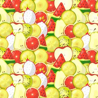 Patrón sin costuras deliciosas frutas de verano