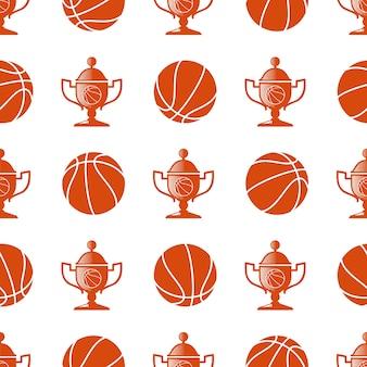 Patrón sin costuras de deporte con pelota de baloncesto y trofeo