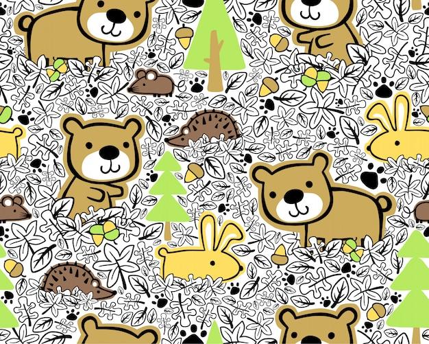 Patrón sin costuras con dibujos animados animales maderas