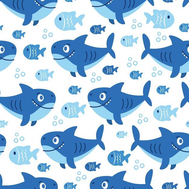 Patrón sin costuras de dibujos animados con animales marinos