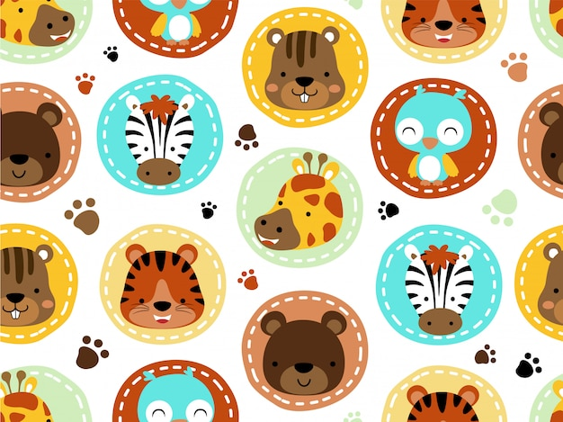 Patrón sin costuras con dibujos animados cabeza de animales