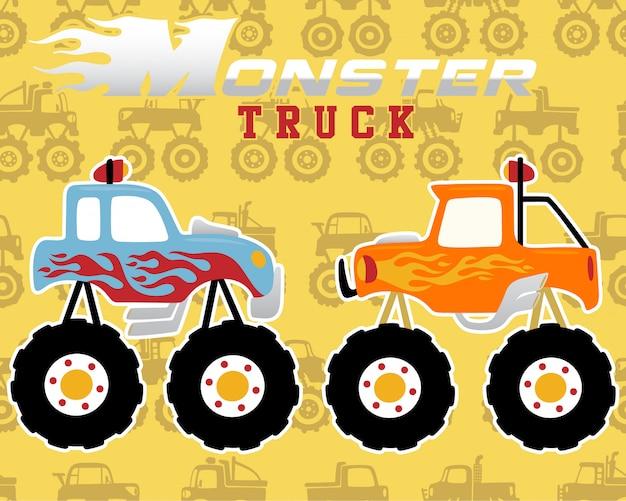 Patrón sin costuras con dibujos animados de camiones monstruo