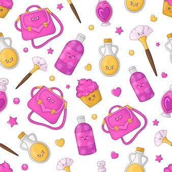 Patrón sin costuras de dibujos animados - cosméticos kawaii y accesorios de moda para niñas