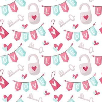 Patrón sin costuras de dibujos animados de día de san valentín
