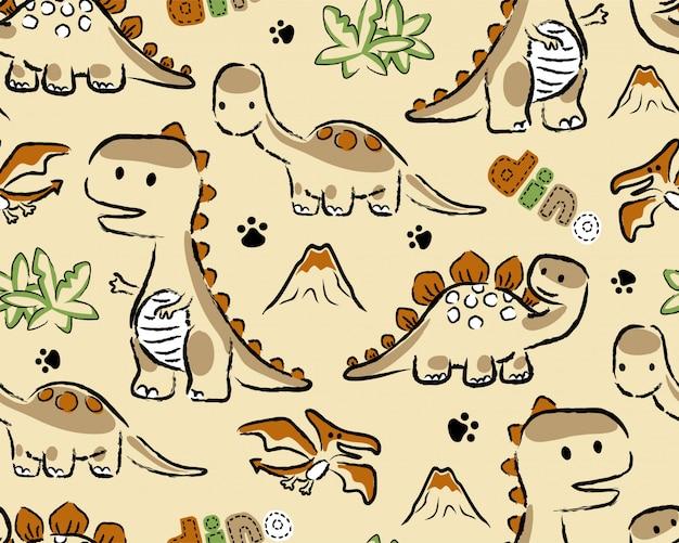 Patrón sin costuras con dibujos animados de dinosaurios