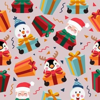 Patrón sin costuras de dibujos animados de navidad