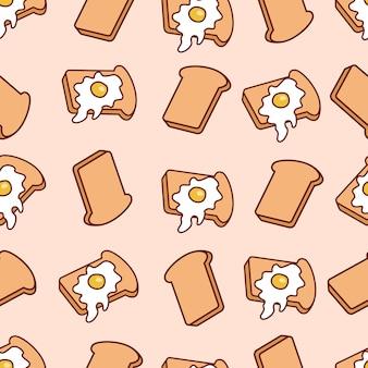 Patrón sin costuras de dibujos animados con tostadas y huevos fritos