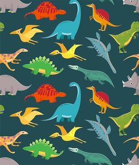 Patrón sin costuras de dinosaurio