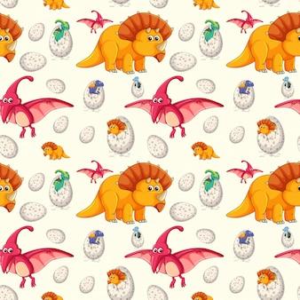 Un patrón sin costuras de dinosaurio.