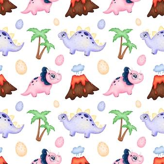 Patrón sin costuras de dinosaurios de dibujos animados lindo