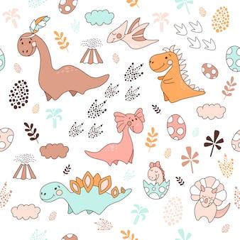 Patrón sin costuras con dinosaurios, ilustración vectorial
