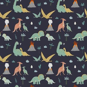 Patrón sin costuras dinosaurios lindos mamá y bebé era prehistórica ilustración infantil